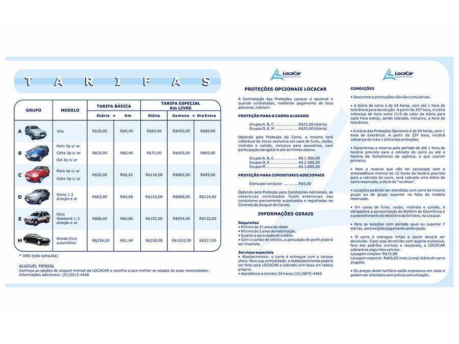 Tabela de serviços